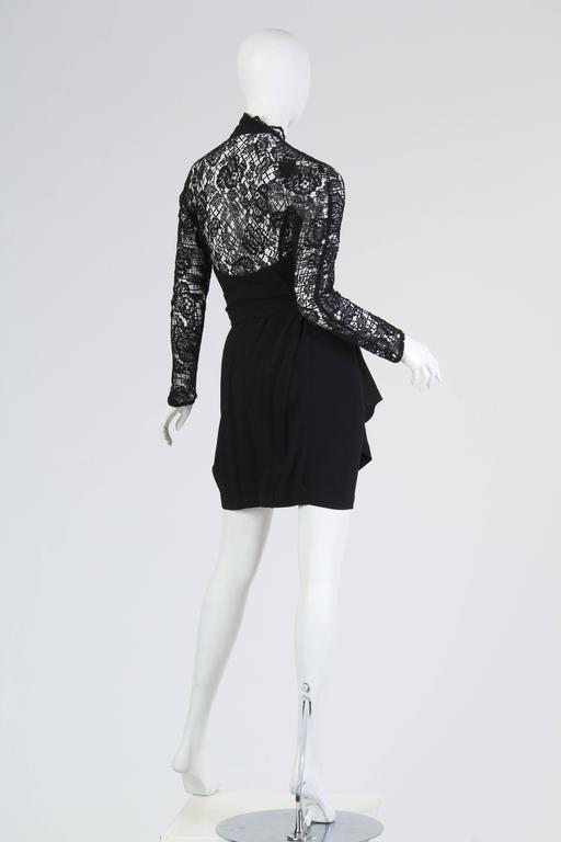 Thierry Mugler Asymetrical Lace Dress In Excellent Condition For Sale In New York, NY