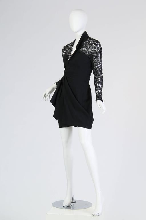 Black Thierry Mugler Asymetrical Lace Dress For Sale