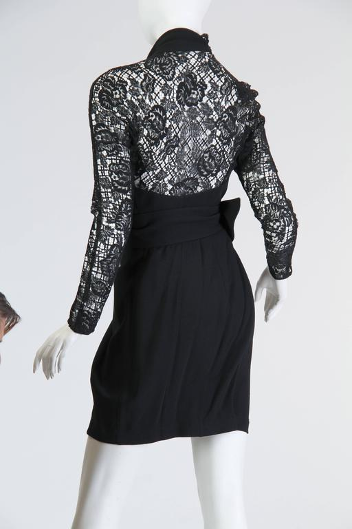 Thierry Mugler Asymetrical Lace Dress For Sale 1