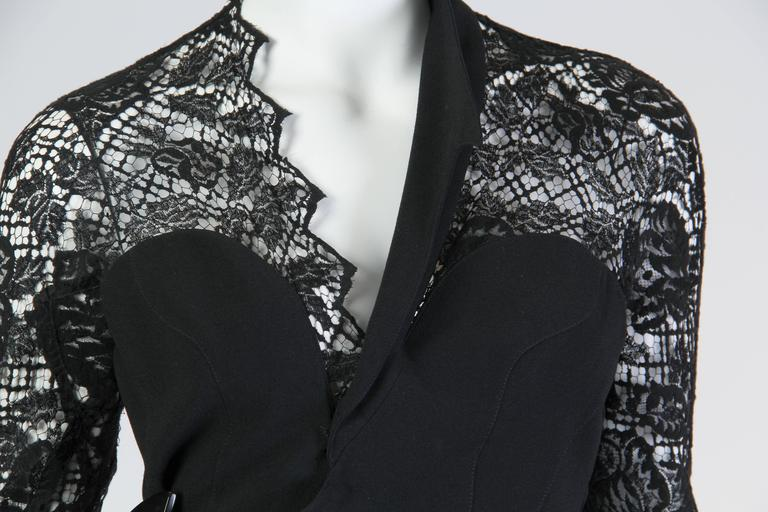 Thierry Mugler Asymetrical Lace Dress For Sale 4