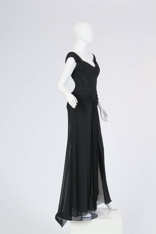 Vicky Tiel long Black Corseted Gown 4