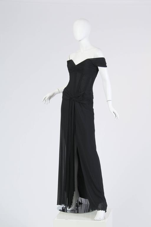 Vicky Tiel long Black Corseted Gown 2