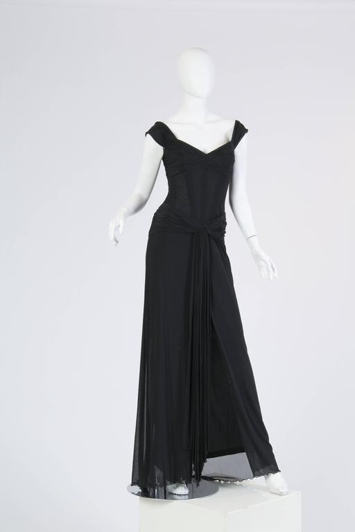 Vicky Tiel long Black Corseted Gown 3