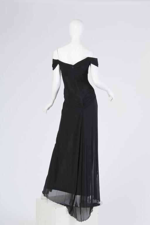Vicky Tiel long Black Corseted Gown 6