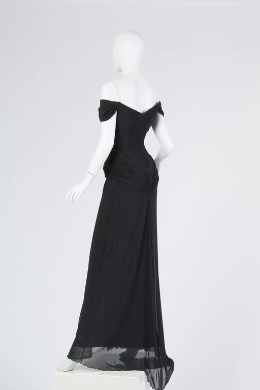 Vicky Tiel long Black Corseted Gown 5