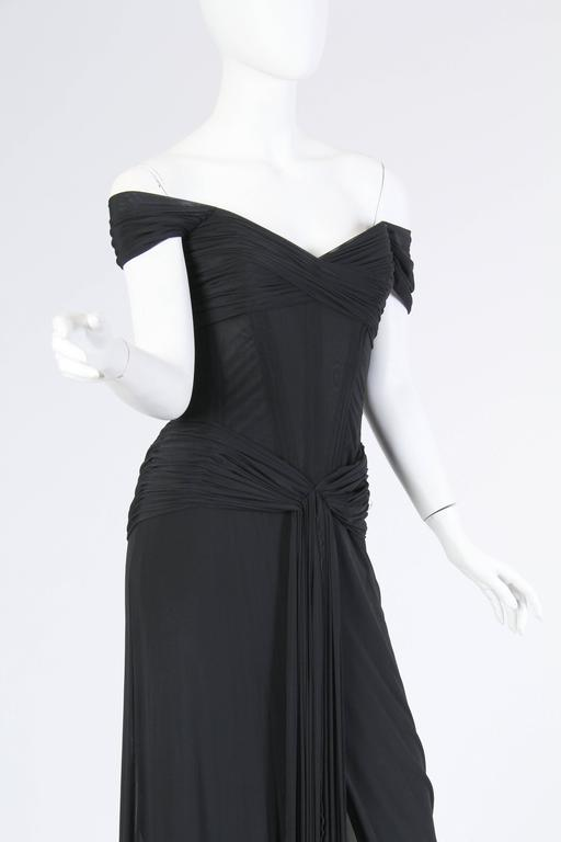 Vicky Tiel long Black Corseted Gown 7