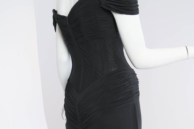 Vicky Tiel long Black Corseted Gown 9
