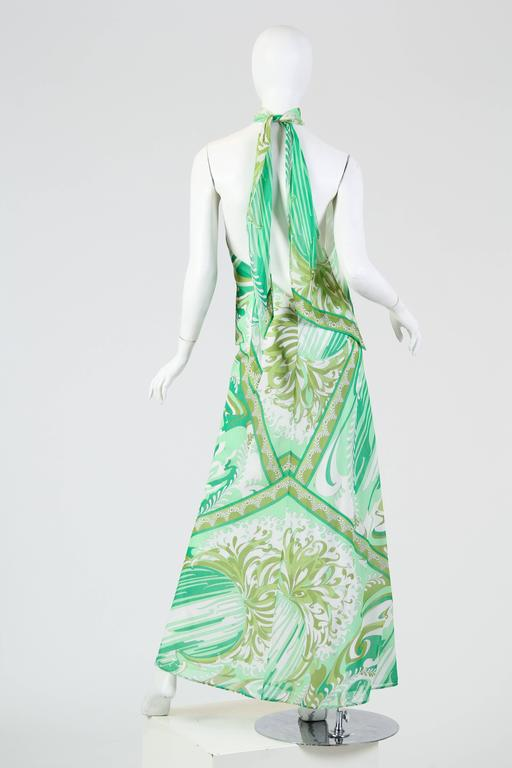 Pucci Bias Cut Backless Cotton Maxidress In Excellent Condition For Sale In New York, NY