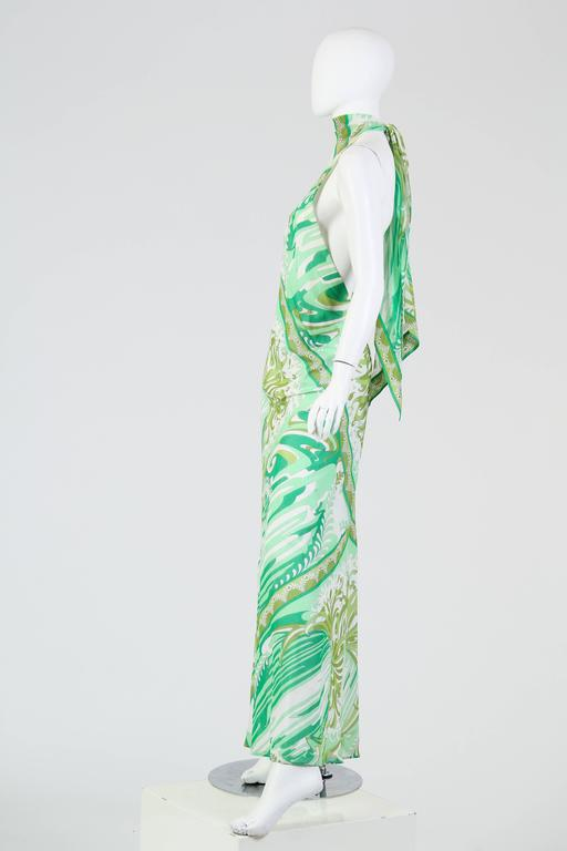 Green Pucci Bias Cut Backless Cotton Maxidress For Sale