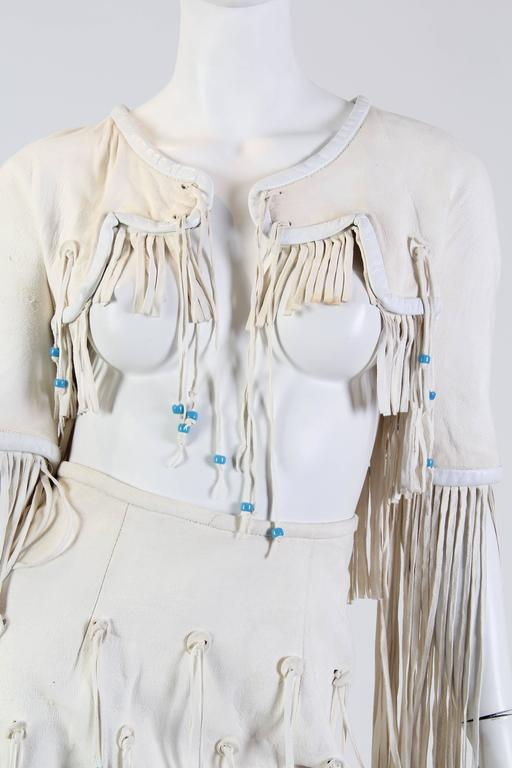 Giorgio Sant Angelo Native American Collection White Suede Fringe Ensemble 7