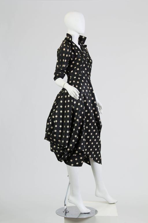 Very Interesting 1950s Draped Taffeta Dress  2