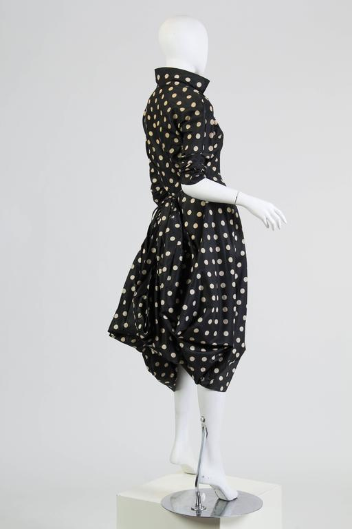 Very Interesting 1950s Draped Taffeta Dress  3