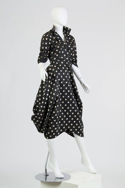 Very Interesting 1950s Draped Taffeta Dress  4
