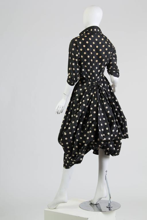 Very Interesting 1950s Draped Taffeta Dress  8