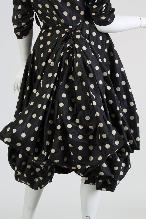 Very Interesting 1950s Draped Taffeta Dress  7