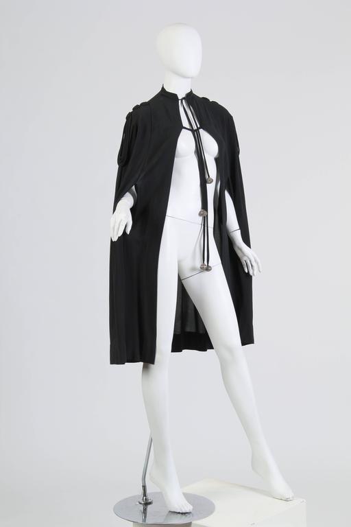 Black 1930s Crepe Cape For Sale