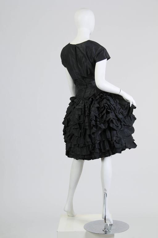 1950S Paula Whitney Black Haute Couture Silk Taffeta Amazing Ruffled Poof Ball 1 In Excellent Condition For Sale In New York, NY
