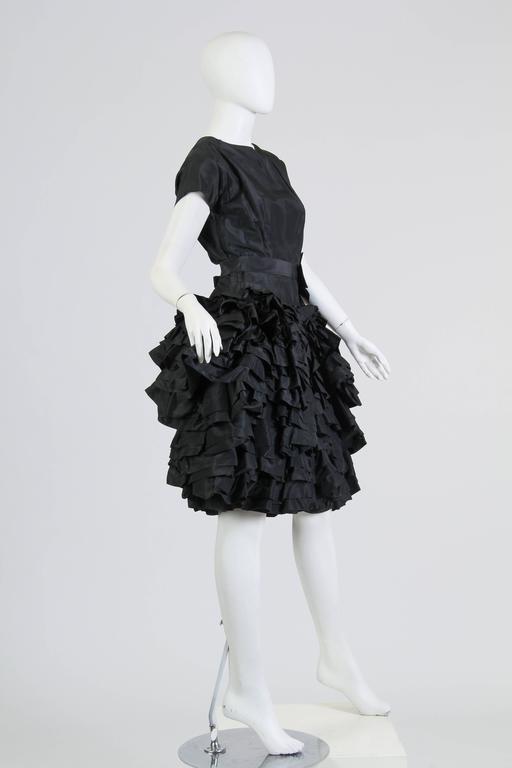 1950S Paula Whitney Black Haute Couture Silk Taffeta Amazing Ruffled Poof Ball Skirt Cocktail Dress