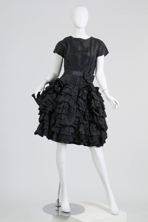Women's 1950S Paula Whitney Black Haute Couture Silk Taffeta Amazing Ruffled Poof Ball 1 For Sale