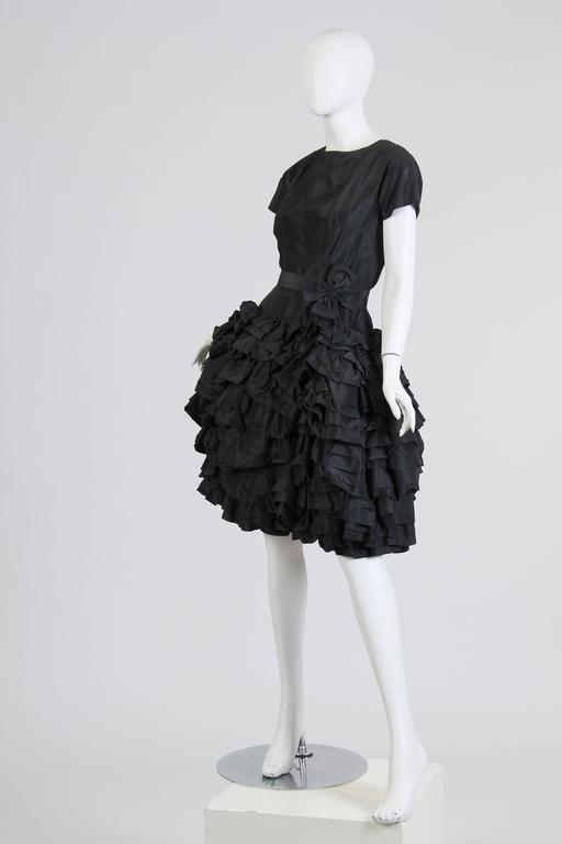 1950S Paula Whitney Black Haute Couture Silk Taffeta Amazing Ruffled Poof Ball 1 For Sale 1