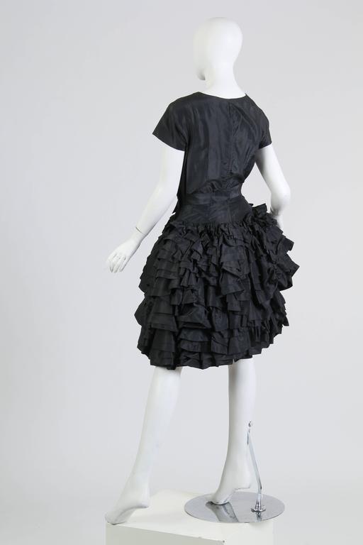 1950S Paula Whitney Black Haute Couture Silk Taffeta Amazing Ruffled Poof Ball 1 For Sale 2
