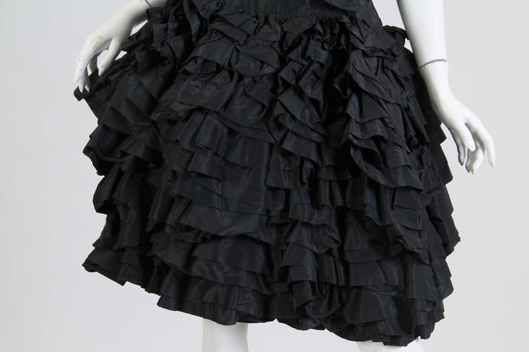 1950S Paula Whitney Black Haute Couture Silk Taffeta Amazing Ruffled Poof Ball 1 For Sale 3