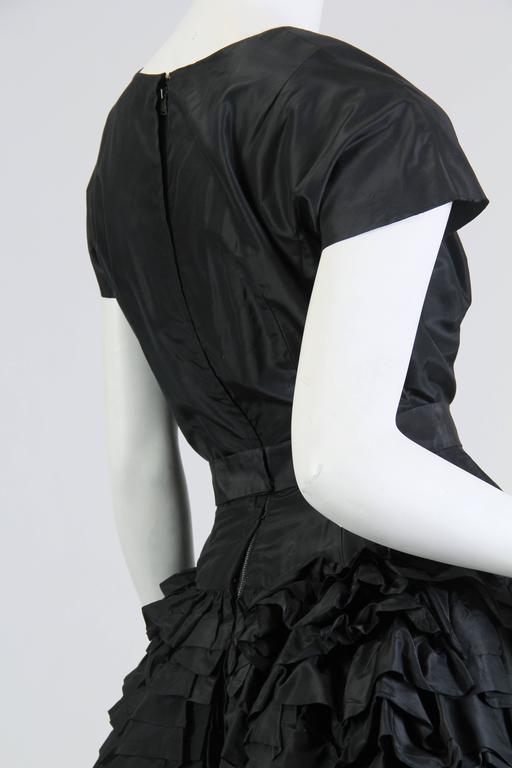 1950S Paula Whitney Black Haute Couture Silk Taffeta Amazing Ruffled Poof Ball 1 For Sale 4