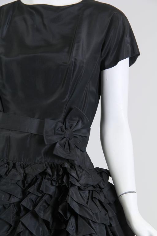 1950S Paula Whitney Black Haute Couture Silk Taffeta Amazing Ruffled Poof Ball 1 For Sale 5