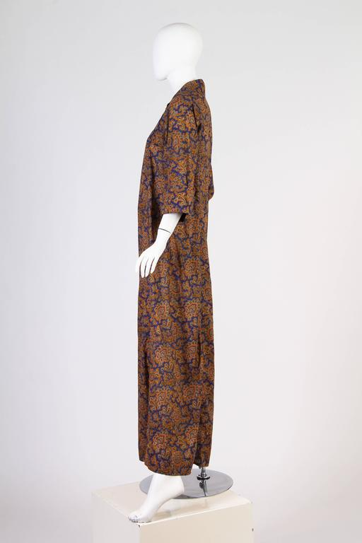 Early Yves Saint Laurent Cotton Kaftan Dress In Excellent Condition For Sale In New York, NY