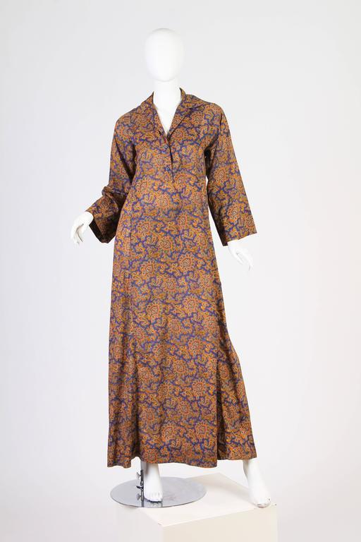 Brown Early Yves Saint Laurent Cotton Kaftan Dress For Sale