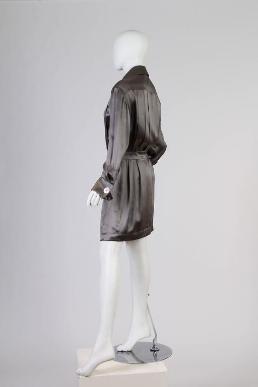 Gray Chanel Boutique Luxe Satin Shirt Dress For Sale