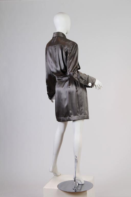 Women's Chanel Boutique Luxe Satin Shirt Dress For Sale