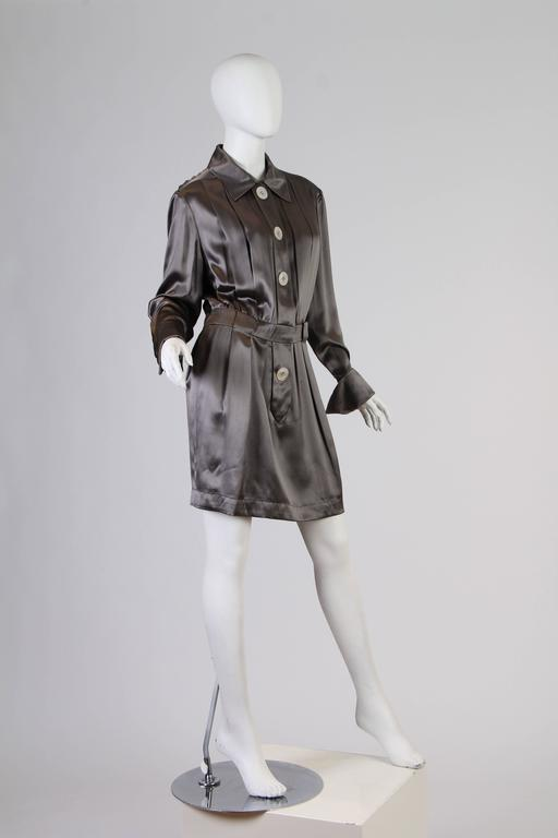 Chanel Boutique Luxe Satin Shirt Dress For Sale 2