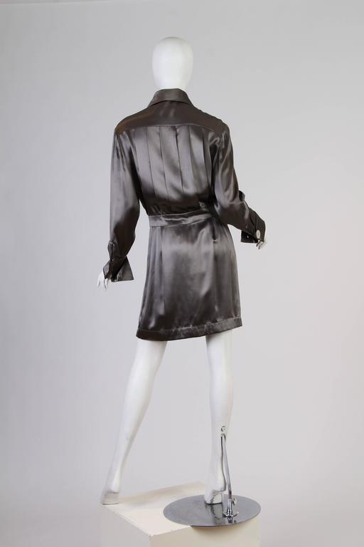 Chanel Boutique Luxe Satin Shirt Dress For Sale 1