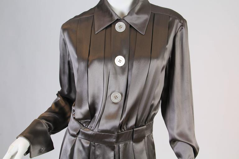 Chanel Boutique Luxe Satin Shirt Dress For Sale 3