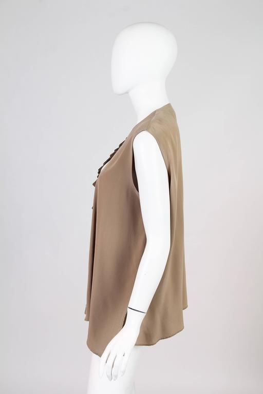 Gianfranco Ferre Minimalist Pleated Silk Vest In Excellent Condition For Sale In New York, NY