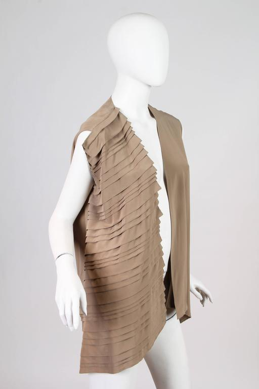 Beige Gianfranco Ferre Minimalist Pleated Silk Vest For Sale