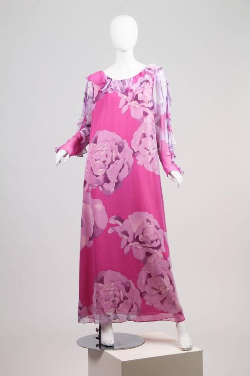 Purple 1970s Hanae Mori Romantic Silk Chiffon Dress For Sale