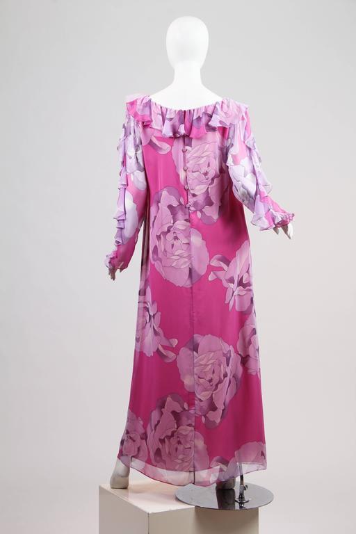 Women's 1970s Hanae Mori Romantic Silk Chiffon Dress For Sale