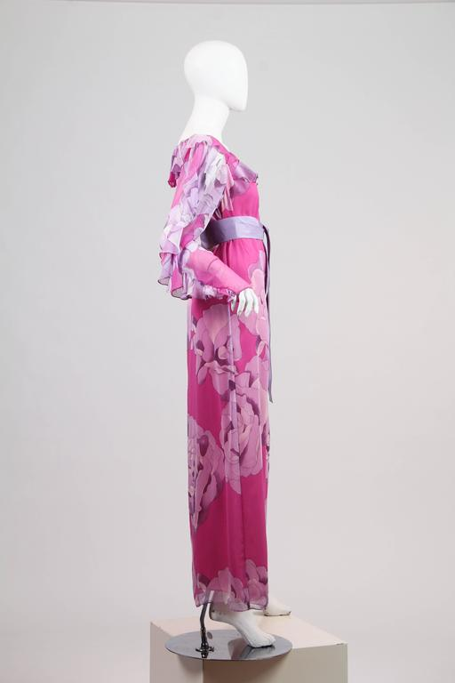 1970s Hanae Mori Romantic Silk Chiffon Dress In Excellent Condition For Sale In New York, NY