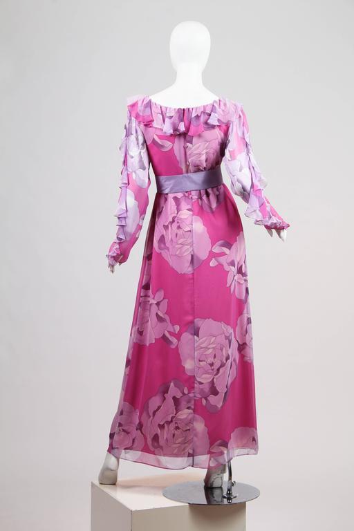 1970s Hanae Mori Romantic Silk Chiffon Dress For Sale 2