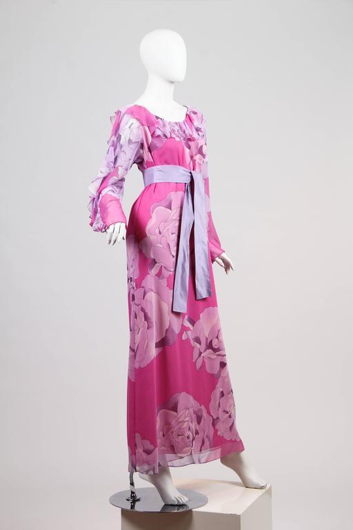 1970s Hanae Mori Romantic Silk Chiffon Dress For Sale 1