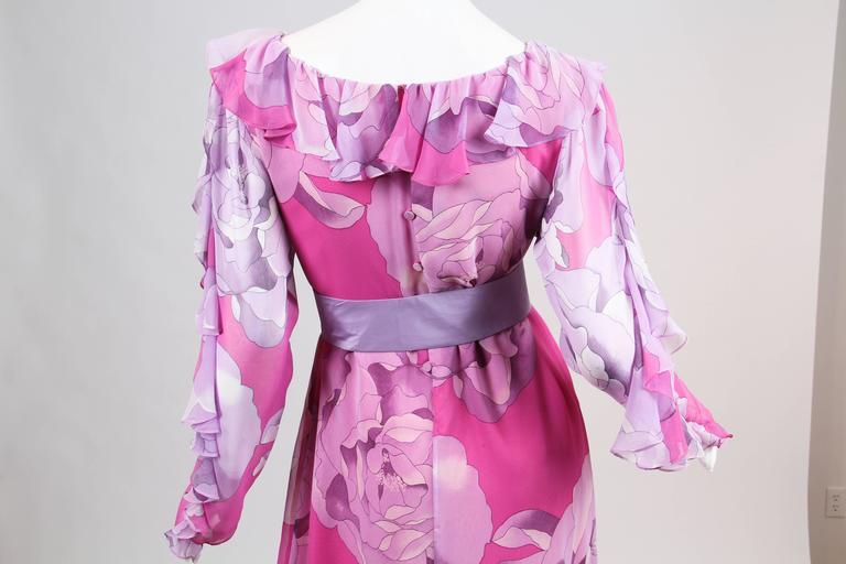 1970s Hanae Mori Romantic Silk Chiffon Dress For Sale 3