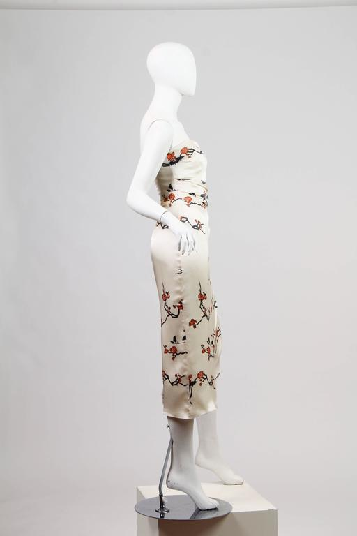 Beige Oscar De La Renta Asian Strapless Dress For Sale