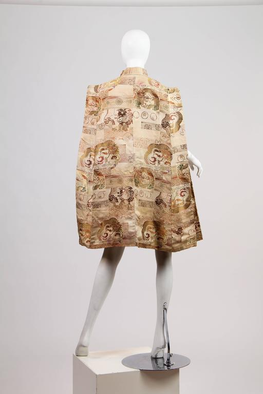 Women's 1940s Cape made from Antique Japanese Fabric with Dragons For Sale