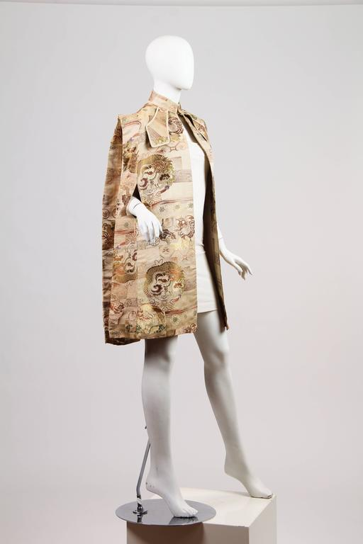 1940s Cape made from Antique Japanese Fabric with Dragons 5