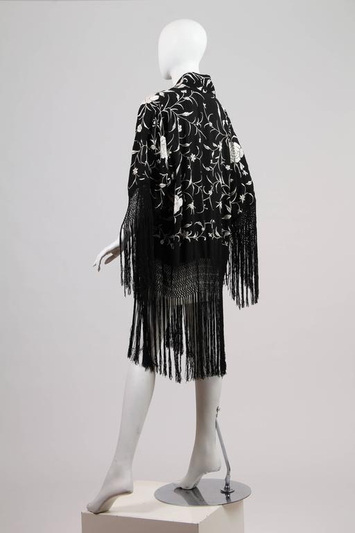 Black Fringed Kimono made from Antique Piano Shawl For Sale