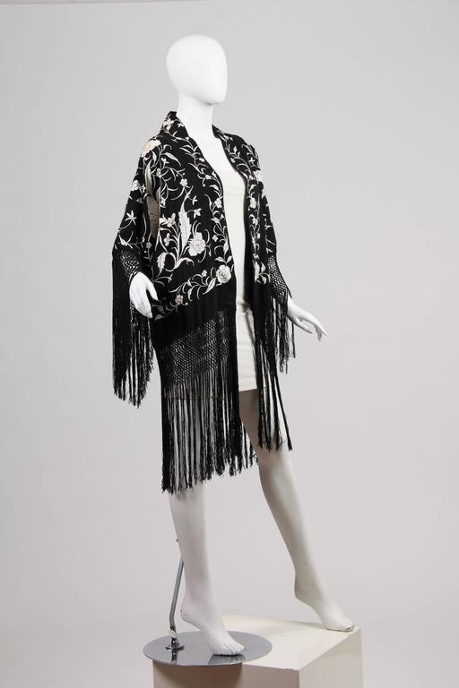Fringed Kimono made from Antique Piano Shawl For Sale 1