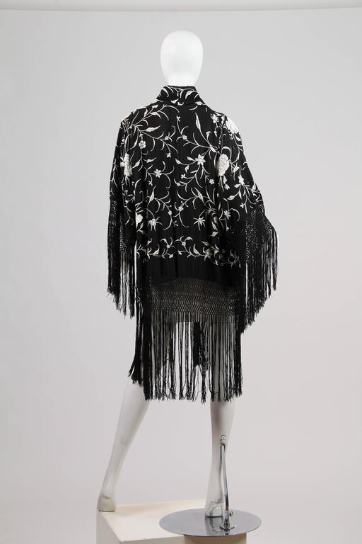 Women's Fringed Kimono made from Antique Piano Shawl For Sale