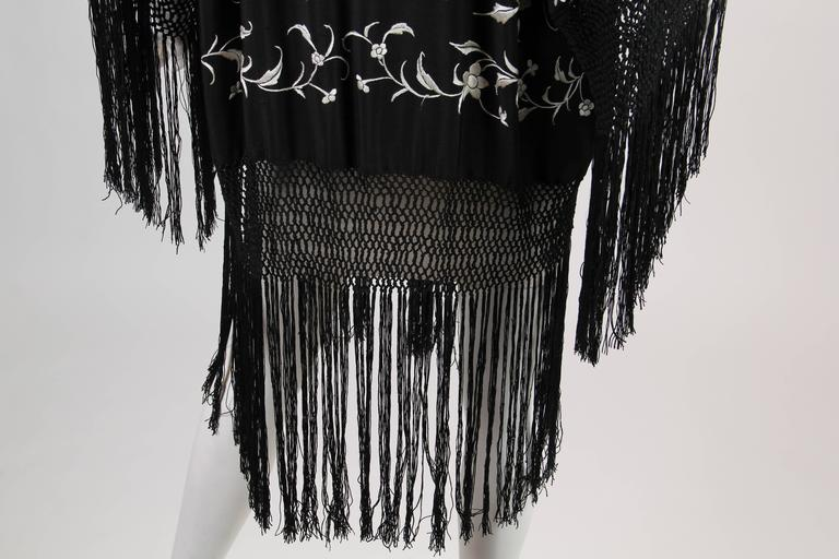 Fringed Kimono made from Antique Piano Shawl For Sale 2